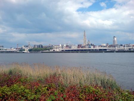 """""""Vår kjøre frue"""" katedralen er lett synlig fra andre siden av elven Schelde"""
