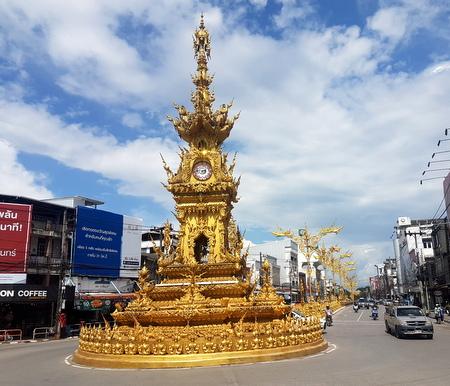 Det gyldne klokketårnet i sentrum av Chiang Rai