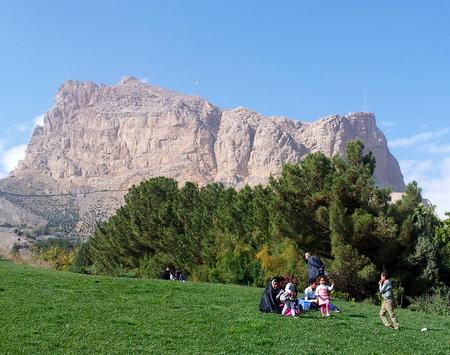 Familie i bunnen av Sofeh-fjellet