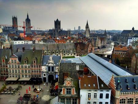 Utsikt over gamlebyen i Gent