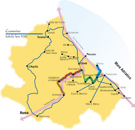 Kart over pilegrimsveien San Tommaso