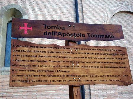 Skilt ved graven til apostelen Tommaso