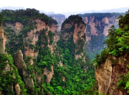 Grønt landskap i Zhangjiajie