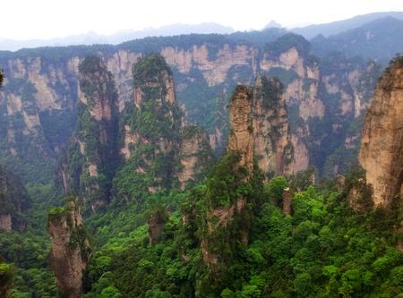 Utsikt i Zhangjiajie Forest Park